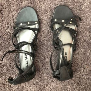 Charcoal gray sandals